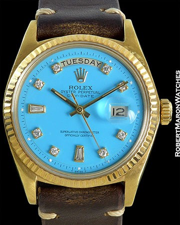 ROLEX DAY DATE PRESIDENT 1803 ROBIN'S EGG BLUE DIAMOND DIAL 18K