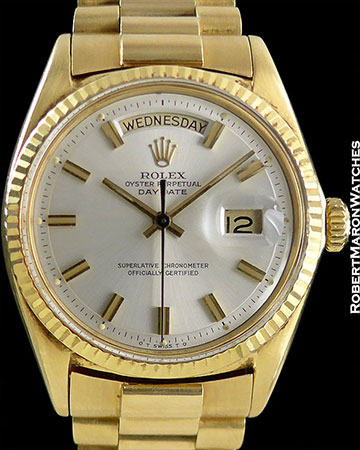 ROLEX REF 1803 DAY-DATE PRESIDENT SILVER DIAL 18K