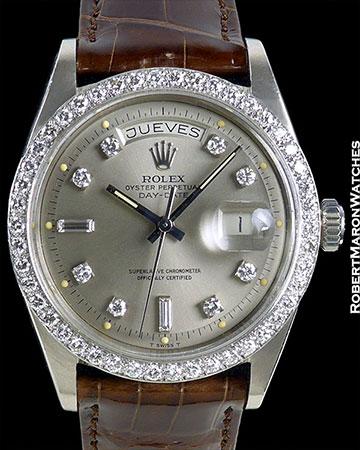 ROLEX DAY DATE PRESIDENT 1803 UNPOLISHED 18K WHITE GOLD DIAMOND BEZEL & DIAL