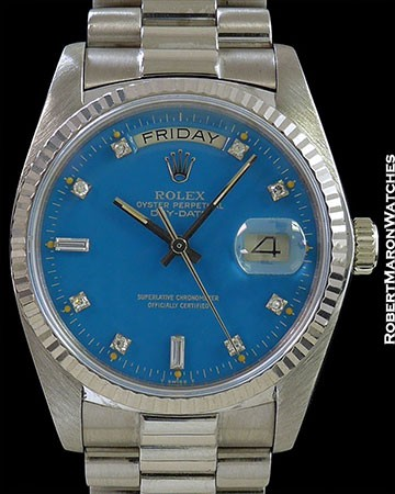 ROLEX BLUE STELLA DAY DATE 18039 18K WHITE GOLD