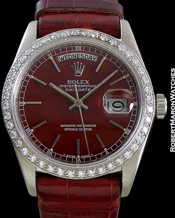 ROLEX REF 18046 DAY-DATE PLATINUM DIAMOND BEZEL RED STELLA DIAL