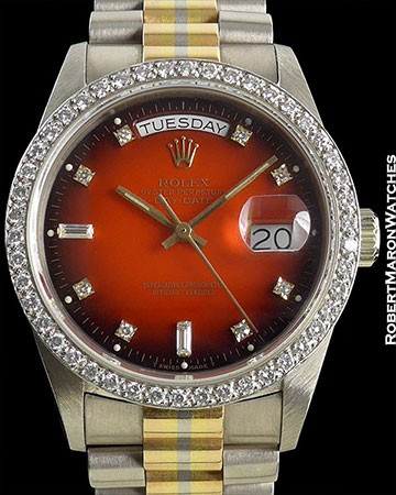ROLEX 18129 TRIDOR DAY-DATE ORANGE VIGNETTE CIRCA 1985