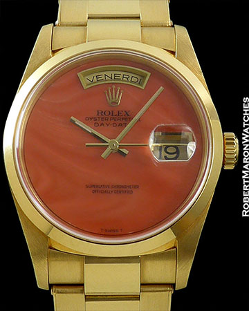 ROLEX REF 18208 DAY-DATE RARE CORAL DIAL 18K