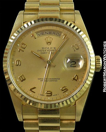 ROLEX 18238 DAY DATE PRESIDENT 18K ARABIC NUMERALS FLUTED BEZEL