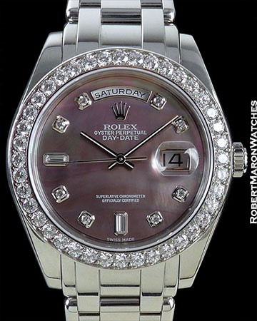 ROLEX MASTERPIECE SPECIAL EDITION PLATINUM 18946 TAHITIAN MOTHER OF PEARL