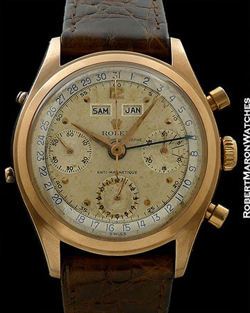 ROLEX 6036 VINTAGE TRIPLE DATE CALENDAR CHRONOGRAPH 18K ROSE GOLD BOX & PAPERS