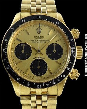 ROLEX 6263 DAYTONA 18K GOLD CHAMPAGNE DIAL LATE ISSUE INDREDIBLE DIAL AND BRACELET AMAZING CONDITION