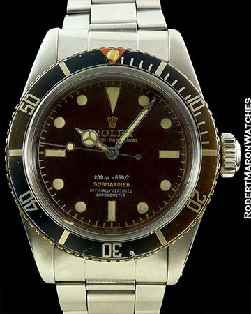 ROLEX BIG CROWN SUBMARINER 6538 4 LINE TROPICAL GILT DIAL