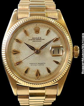 ROLEX DATEJUST 6605 18K ROSE GOLD