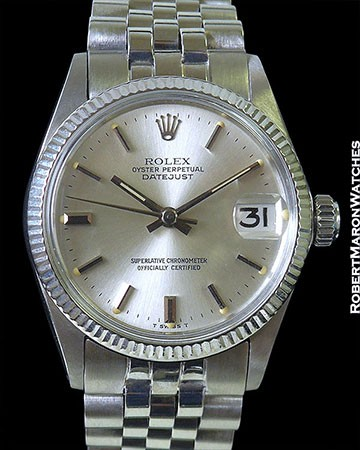 ROLEX 6627 DATEJUST MIDSIZE 18K WHITE GOLD AUTOMATIC