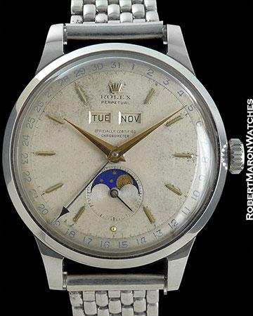 ROLEX REF 8171 TRIPLE DATE MOONPHASE PADELLONE STEEL CIRCA 1949