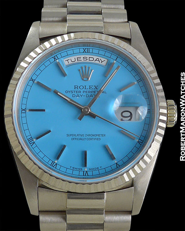 "ROLEX REF 18039 BLUE ""STELLA"" DAY-DATE 18K WG CIRCA 1995"