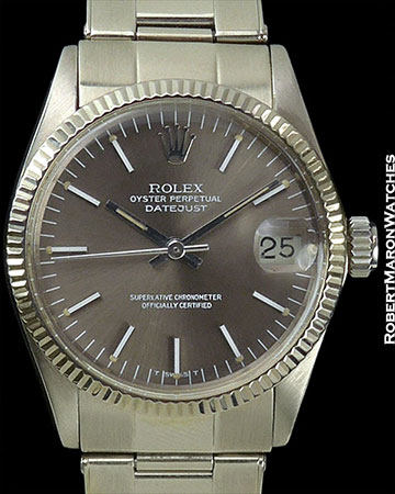 ROLEX DATEJUST MID-SIZE 18K WHITE GOLD GREY DIAL ref 6824