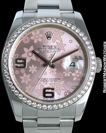 ROLEX DATEJUST PINK FLOWERS DIAMOND BEZEL 116244 STEEL
