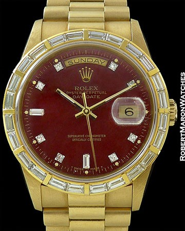 ROLEX 18368 DAY DATE YELLOW GOLD PRESIDENT BRACELET RED STELLA DIAL BAGETTE BEZEL