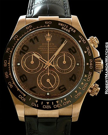 ROLEX EVEROSE CHOCOLATE 18K ROSE GOLD DAYTONA BOX & PAPERS