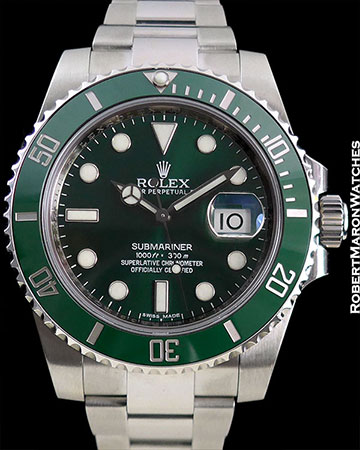 "ROLEX ""HULK"" SUBMARINER NEW BOX PAPERS"