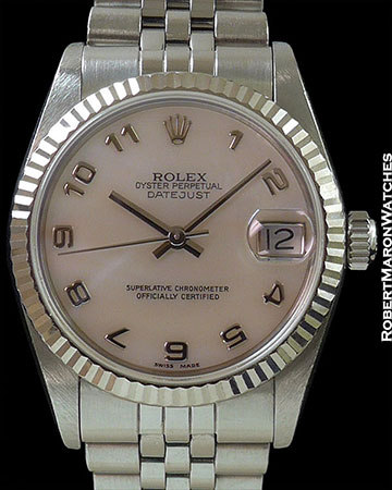 ROLEX LADY'S 31MM DATEJUST ARABIC MOTHER OF PEARL DIAL STEEL