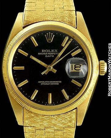 ROLEX NOS DATE BLACK GLOSS DIAL 18K/OYSTER