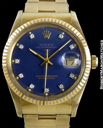 ROLEX OYSTER DATE 14K BOX/PAPERS EXCLUSIVE BLUE DIAM DIAL FORD MOTORS
