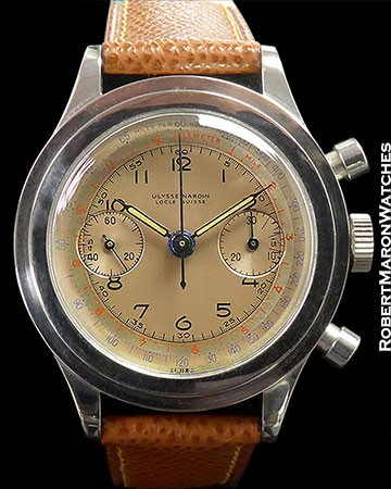 ULYSSE NARDIN VINTAGE STEEL SCREW BACK CHRONOGRAPH ca. 1950