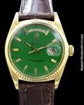 ROLEX VINTAGE DAY DATE PRESIDENT 1803 18K GREEN STELLA DIAL 1967