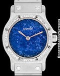 CARTIER SANTOS RONDE AUTOMATIC 18K WHITE GOLD LAPIS LAZULI DIAMONDS