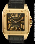 CARTIER SANTOS 100 18K RED GOLD CHOCOLATE DIAL AUTOMATIC