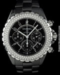 CHANEL J 12 H 1009 AUTOMATIC CHRONOGRAPH CERAMIC DIAMONDS