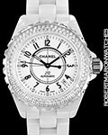 CHANEL J12 WHITE CERAMIC DIAMONDS H0969 AUTOMATIC 38MM DIAMOND BEZEL