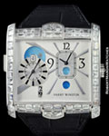 HARRY WINSTON 350 MATZW AVENUE SQUARE DUAL TIME DIAMONDS 18K