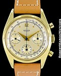 JAEGER VINTAGE 18K CHRONOGRAPH SCREW BACK VALJOUX 72B ca 1950