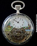 MOBILIS TOURBILLON SILVER KEYLESS POCKET WATCH ENAMEL DIAL WITH NIELLO DECORATIONS