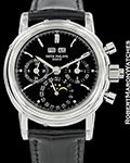 PATEK PHILIPPE 5004P PLATINUM SPLIT SECOND CHRONOGRAPH PERPETUAL CALENDAR BLACK DIAL