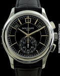 PATEK PHILIPPE 5905P PLATINUM ANNUAL CALENDAR FLYBACK CHRONOGRAPH 42MM BLACK DIAL NEW BOX & PAPERS
