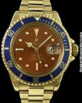 ROLEX 1680 18K SUBMARINER TROPICAL COLOR CHANGE PATENT PENDING BOX & PAPERS