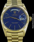 ROLEX VINTAGE DAY DATE PRESIDENT 1803 18K BLUE DIAL BOX PAPERS 1971