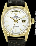 ROLEX VINTAGE DAY DATE PRESIDENT 1803 18K AUTOMATIC WHITE DIAL 1960