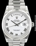 ROLEX DAY DATE PRESIDENT 118209 18K WHITE GOLD AUTOMATIC NEW CLASP