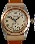 ROLEX BUBBLE BACK 3064 UNPOLISHED 18K ROSE GOLD & STEEL HOODED CASE TWO-TONE DIAL