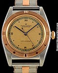 ROLEX BUBBLE BACK 3134 UNPOLISHED ROSE GOLD & STEEL ENGINE TURNED BEZEL