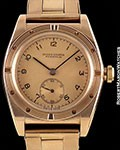 ROLEX BUBBLE BACK 3372 ROSE GOLD ENGINE TURNED DOT BEZEL