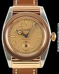 ROLEX BUBBLE BACK 3595 CALIFORNIA DIAL 18K ROSE GOLD & STEEL HOODED CASE