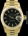 ROLEX LADY PRESIDENT DATEJUST 18K AUTOMATIC SAPPHIRE CRYSTAL BLACK DIAL