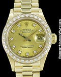 ROLEX LADY PRESIDENT DATEJUST 18K AUTOMATIC 69178 DIAMOND DIAL BEZEL
