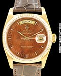 ROLEX DAY DATE PRESIDENT 18038 18K RARE WOOD DIAL AUTOMATIC 1978