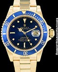 ROLEX VINTAGE SUBMARINER 16808 18K AUTOMATIC BLUE NIPPLE DIAL 1980