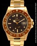 ROLEX 18K VINTAGE GMT MASTER 1675 BROWN DIAL