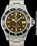"ROLEX VINTAGE ""RED"" SUBMARINER 1680 TROPICAL BROWN DIAL STEEL 1972"