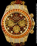 ROLEX DAYTONA 116598 18K DIAMONDS COGNAC SAPPHIRES SAFARI LEOPARD NEW